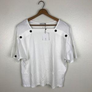 NWT Zara White Button Front Top